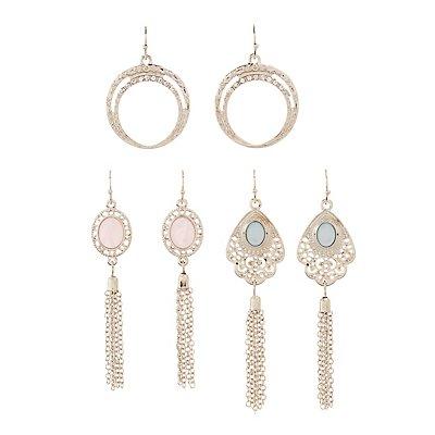 Embellished Hoop & Chandelier Earrings - 3 Pack