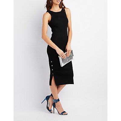Ribbed Button-Side Bodycon Dress