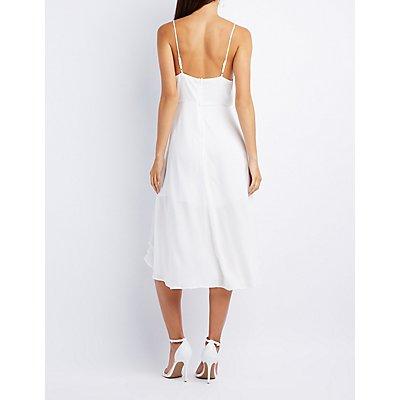 Ruffle-Trim Midi Dress