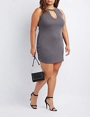 Plus Size Mock Neck Lace-Up Dress