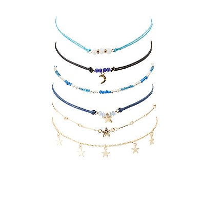 Celestial Beaded Choker Necklaces - 6 Pack