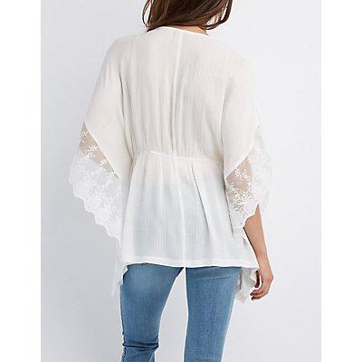 Crochet-Trim Tie-Front Kimono