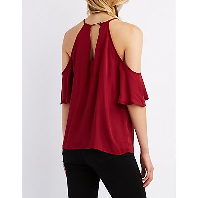 Braided Yoke Cold Shoulder Top