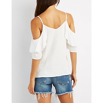 Embroidered Ruffle-Trim Cold Shoulder Top