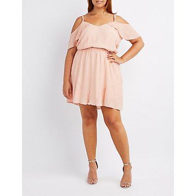 Plus Size Strappy Cold Shoulder Skater Dress
