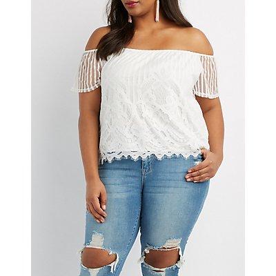 Plus Size Eyelash Lace Off-The-Shoulder Top