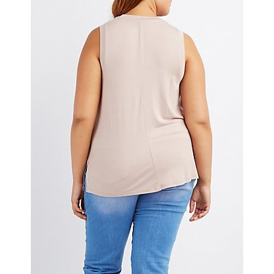 Plus Size Lace-Up Front Tank Top