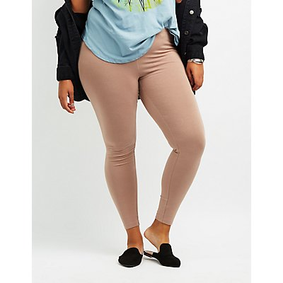 Plus Size Solid Stretch Cotton Leggings