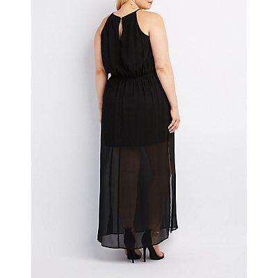 Plus Size Bib Neck Keyhole Maxi Dress