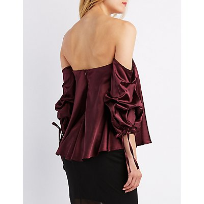 Satin Gathered Off-The-Shoulder Top