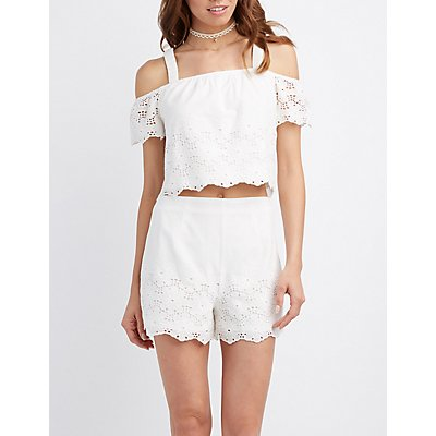 Floral Eyelet Cold Shoulder Crop Top