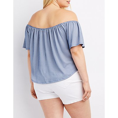 Plus Size Ribbed Pinstripe Off-The-Shoulder Top