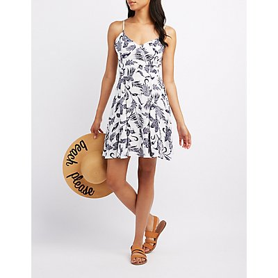 Printed Lace-Up Skater Dress