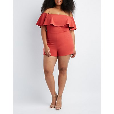 Plus Size Ruffle-Trim Off-The-Shoulder Romper