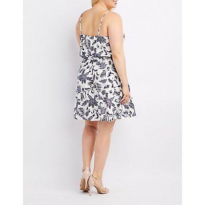 Plus Size Floral Lace-Up Skater Dress