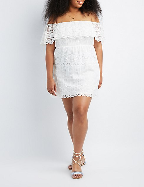 Plus Size Crochet Lace Off The Shoulder Skater Dress Charlotte Russe