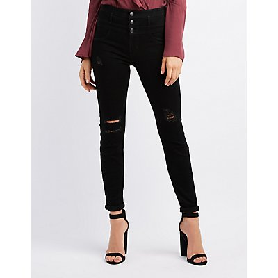 Refuge Hi-Waist Distressed Skinny Jeans