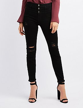 Refuge Hi Waist Distressed Skinny Jeans