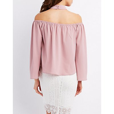 Crochet-Trim Choker Neck Off-The-Shoulder Top