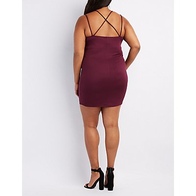 Plus Size Ribbed Strappy-Back Bodycon Dress