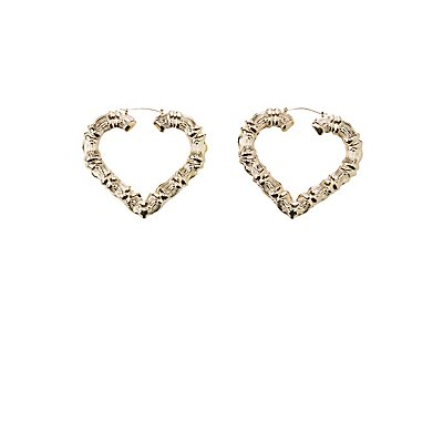 Bamboo Heart Hoop Earrings | Charlotte Russe