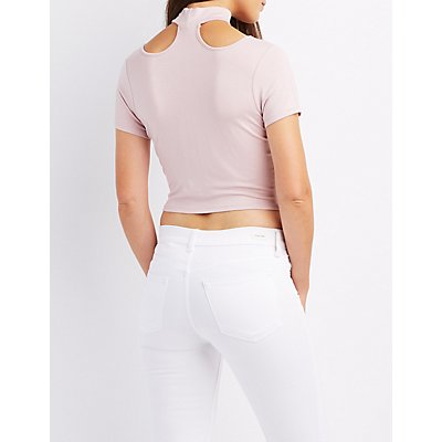 Choker Neck T-Strap Crop Top