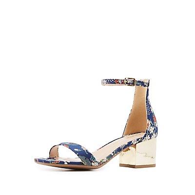 Brocade Two-Piece Block Heel Sandals