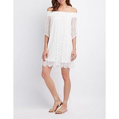 Smocked Off-The-Shoulder Lace Shift Dress