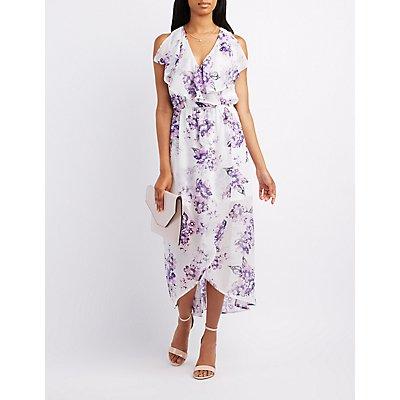 Floral Ruffle-Trim Surplice Maxi Dress