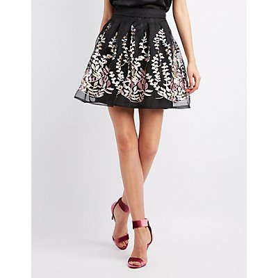 Embroidered Organza Skater Skirt