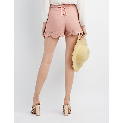 Embroidered Lace-Up Shorts