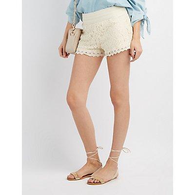 Lace Crochet-Trim Shorts