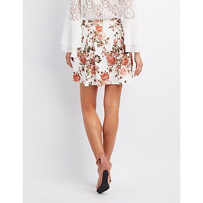 Floral Pleated Skater Skirt