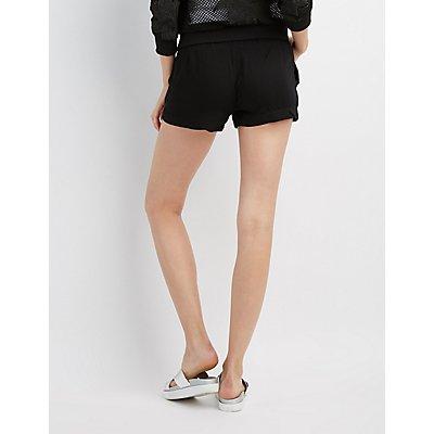 Zip-Front Drawstring Shorts