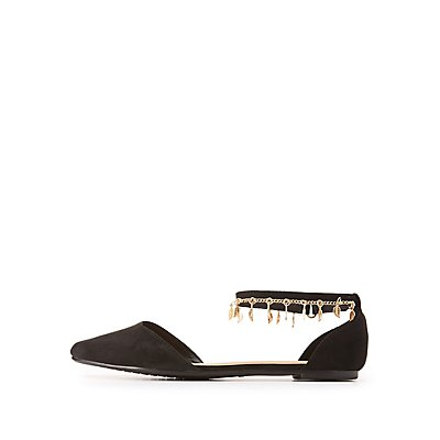 Bamboo Charm Embellished D'Orsay Flats