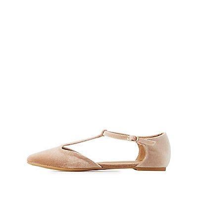 Velvet T-Strap Pointed Toe Flats