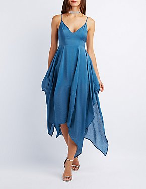 Satin Handkerchief Hem Maxi Dress