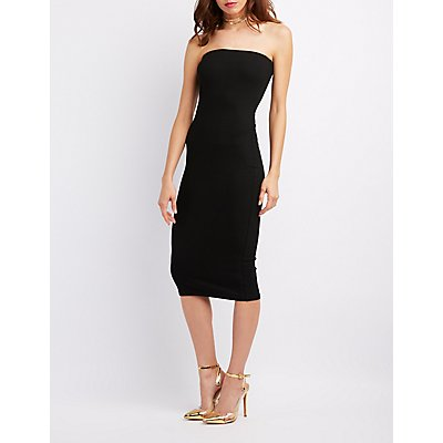 Ribbed Strapless Bodycon Midi Dress