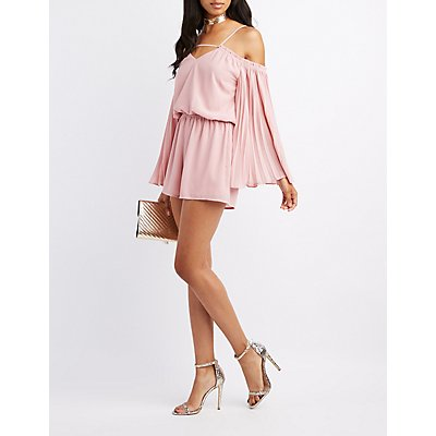 Pleated-Sleeves Cold Shoulder Romper