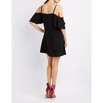 Ruffle-Trim Cold Shoulder Swing Dress