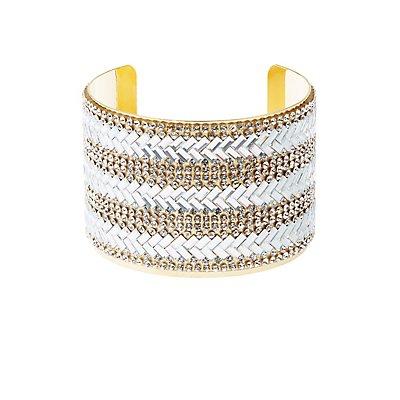 Plus Size Embellished Chevron Cuff Bracelet