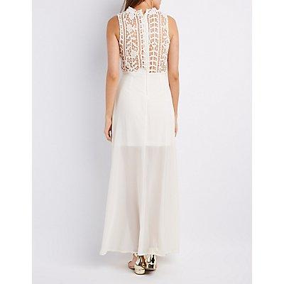 Crochet & Chiffon Mock Neck Maxi Dress