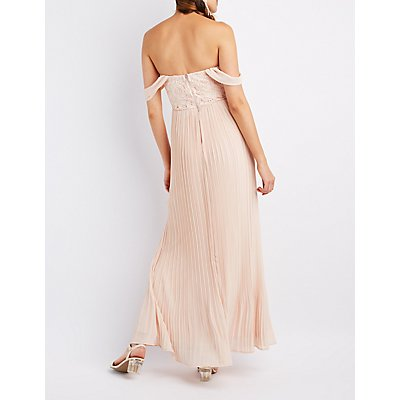 Lace Bodice Off-The-Shoulder Maxi Dress