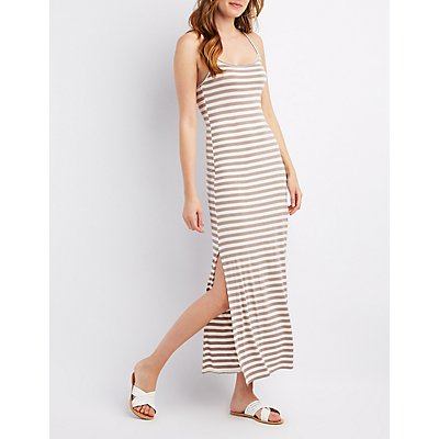 Striped Caged-Back Maxi Dress