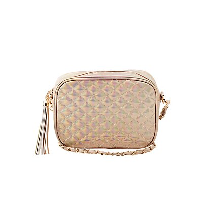 Holographic Quilted Crossbody Bag