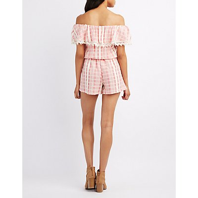 Striped Off-The-Shoulder Crochet-Trim Romper
