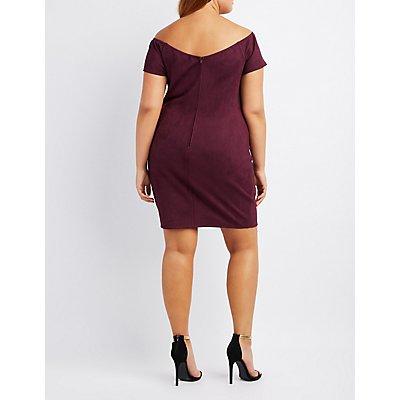 Plus Size Faux Suede Off-The-Shoulder Bodycon Dress