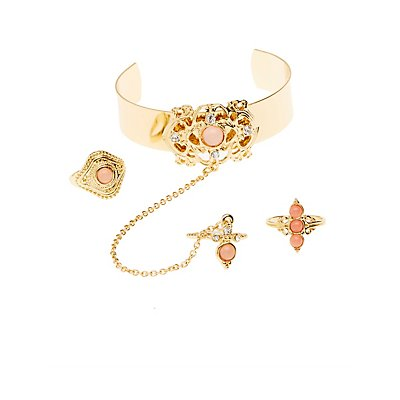 Embellished Cuff Bracelet & Rings Set
