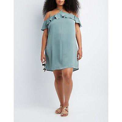 Plus Size Halter Cold Shoulder Shift Dress