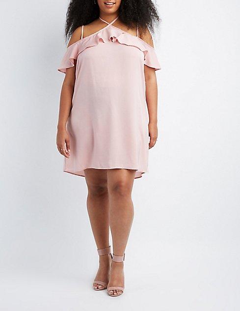 Plus Size Halter Cold Shoulder Shift Dress Charlotte Russe